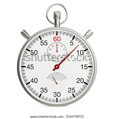 Isolated mechanical stopwatch on white background (3D Rendering) - stock photo