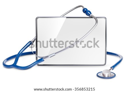 Isolated medical tablet with copy space - stock photo