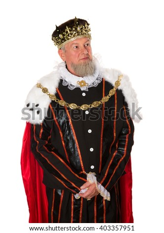 Isolated medieval king standing for an official portrait - stock photo