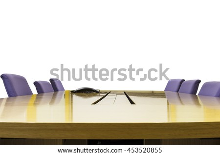 Isolated meeting room with wooden table , Office interior