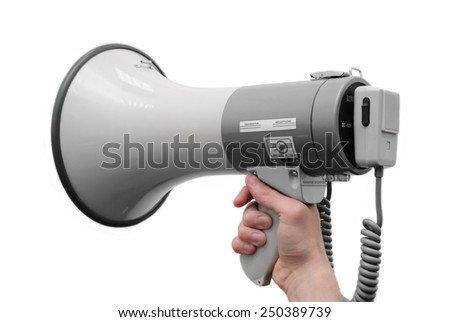 Isolated megaphone in hand on the white background - stock photo