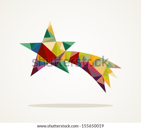 Isolated Merry Christmas colorful abstract shooting star with geometric composition. - stock photo