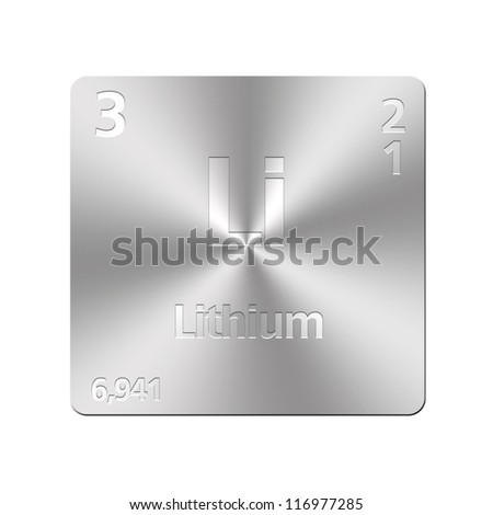 Isolated metal button with periodic table, Lithium. - stock photo
