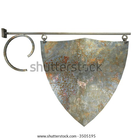 Isolated Metal Shop Sign - stock photo