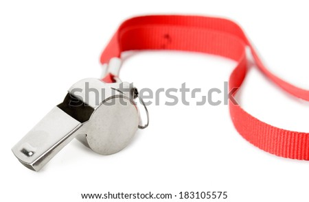 isolated metal Whistle, concept of judgment - stock photo