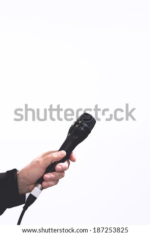 isolated microphone - stock photo
