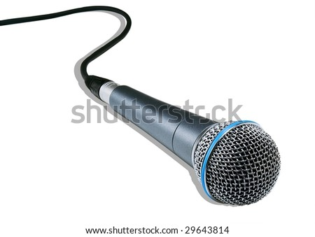 isolated microphone on a white background (+clipping path) - stock photo