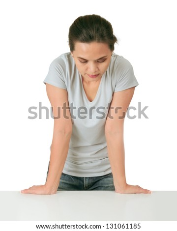 Isolated middle age woman with stress expression - stock photo