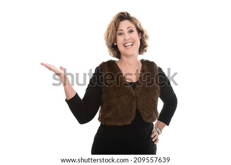 Isolated middle aged business woman presenting with her hand over white background. - stock photo