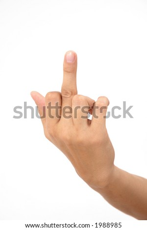 isolated middle finger of a woman
