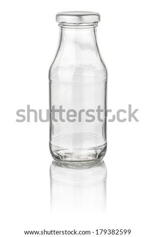 isolated milk bottle - stock photo