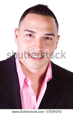 Isolated Minority Businessman - Close up Shot on White Background - stock photo