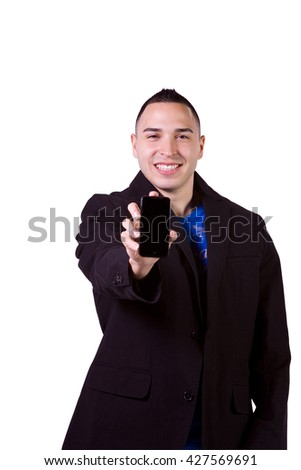 Isolated Minority Businessman Showing His Cell Phone - stock photo
