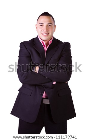 Isolated Minority Businessman with his Arms Crossed - stock photo