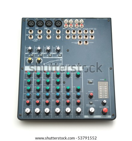 Isolated mixing console. Music device. Element of design. - stock photo