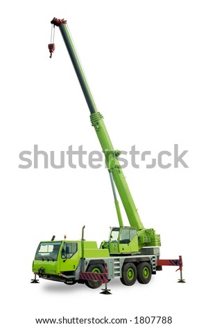 Isolated mobile crane - stock photo