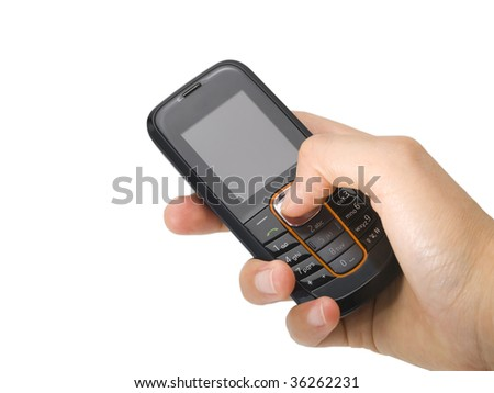 Isolated mobile phone and hand