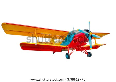 isolated model of the bright vintage oldtimer soviet and russian airplane or biplane  for local low cost airline or airway - stock photo