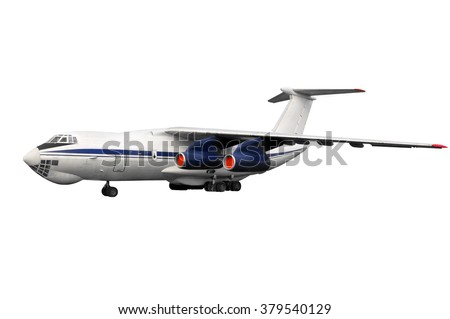 isolated  model on white background of old time vintage russian soviet heavy duty airplane or cargo jet for local low cost airline or airway without any trademarks and logos - stock photo