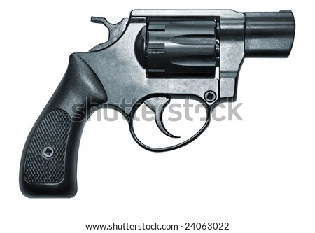 isolated modern black firearm revolver pistole gun - stock photo
