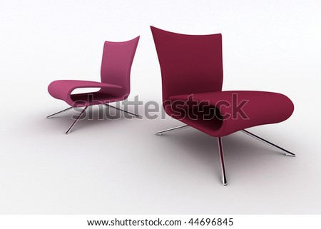Isolated modern furniture on white background. 3d image. - stock photo
