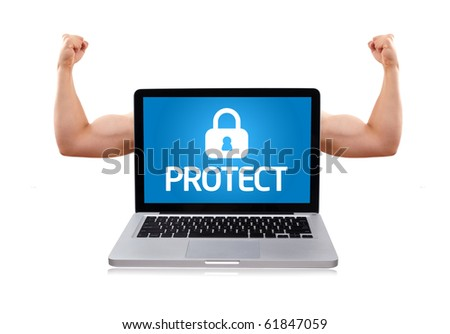 Isolated modern laptop with muscular biceps and protect sign