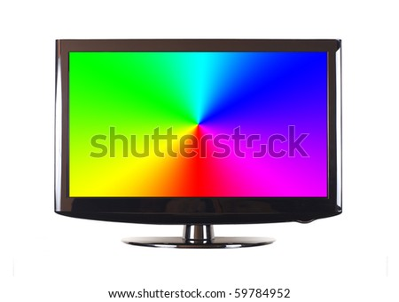 Isolated modern panel television on white background