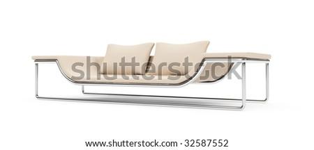 isolated modern sofa over white background - stock photo