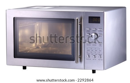 Isolated Modern Stainless Steel Microwave Oven1 - stock photo