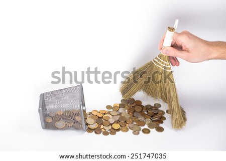 isolated money basket with golden coins - stock photo