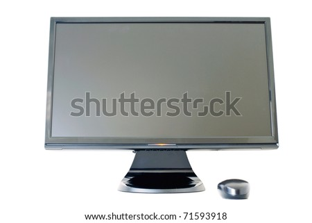 Isolated Monitor keyboard and mouse on white background