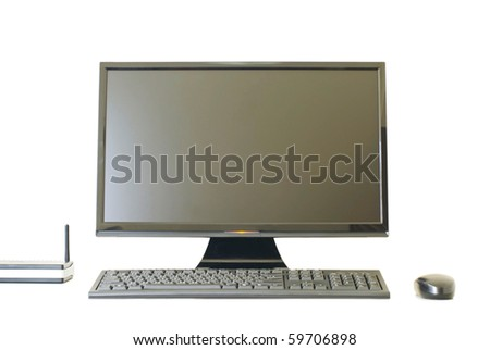 Isolated Monitor keyboard, wireless station and mouse on white background - stock photo