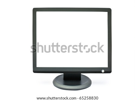 isolated monitor with a white screen on a white backround