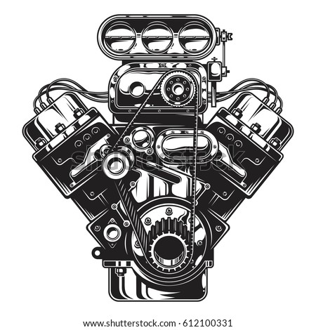 Isolated Monochrome Illustration Car Engine On Stock Illustration ...