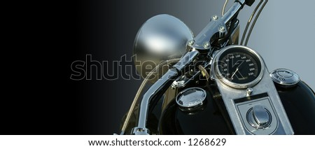 Isolated motorbike on a gradient filled background. Focus on the speedometer. No logo shown.