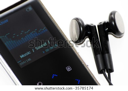 Isolated Mp3 player on white background - stock photo