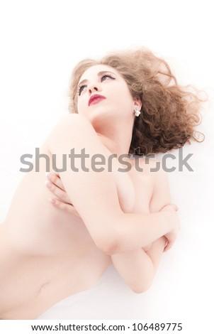 Isolated naked woman on white background - stock photo