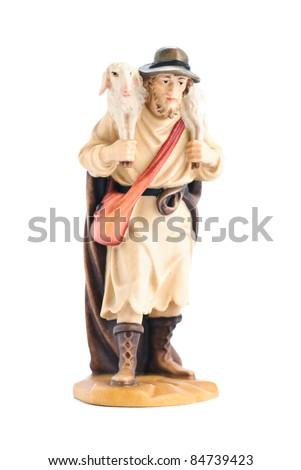 isolated nativity scene; shepherd - stock photo