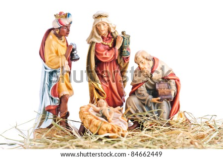isolated nativity scene; the three Magi and Jesus Christ