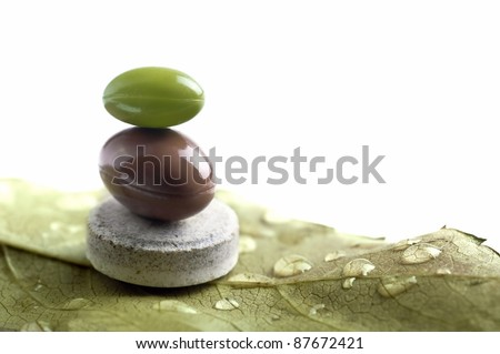 isolated natural pills metaphor with leaf - stock photo