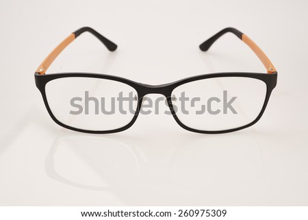 Isolated nerd glasses, thick black frame on white background - stock photo
