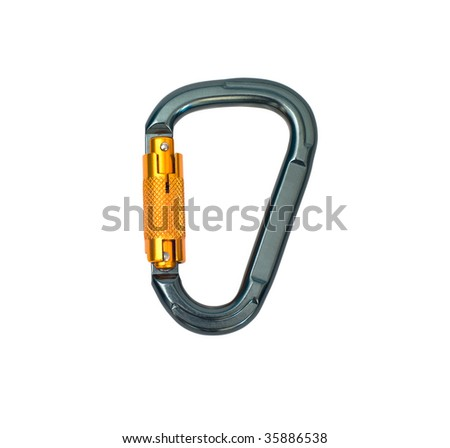Isolated new carabiner without scratches - stock photo