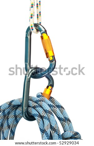 Isolated new climbing equipment - carabiners and blue rope - stock photo