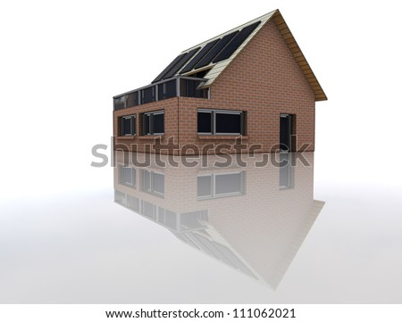 isolated new sustainable brick house with solar pannels on the roof with floor reflection conceptual human perspective rrender