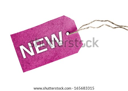 Isolated New word on violet tag - stock photo