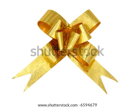 isolated nice yellow bow on white background - stock photo
