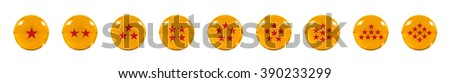 Isolated Nine Orange glass balls or marbles and a red star figure on, over white background with clipping path. - stock photo