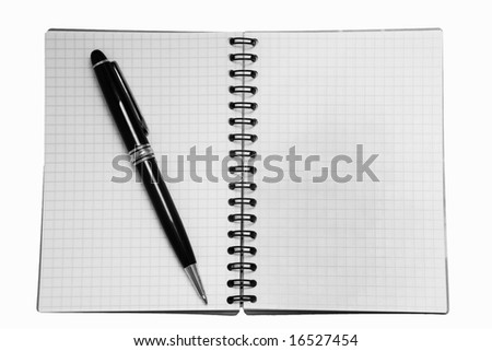 isolated note-pad with black pen - stock photo