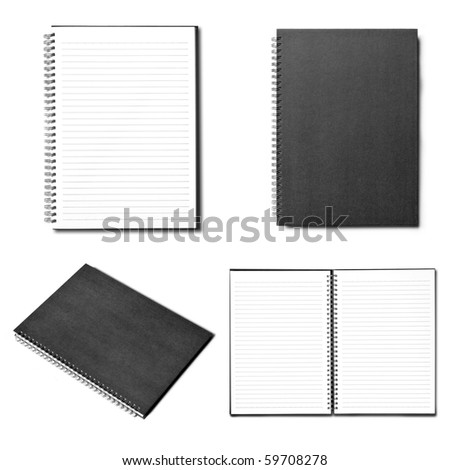 isolated notebook on white . - stock photo