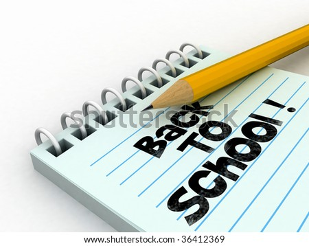isolated notebook with back to school text - stock photo